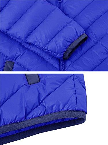 Wantdo Boy's Lightweight Packable Puffer Down Jacket Hooded Windproof Color Block Winter Coat(Sapphire Blue, 8) by Wantdo (Image #6)