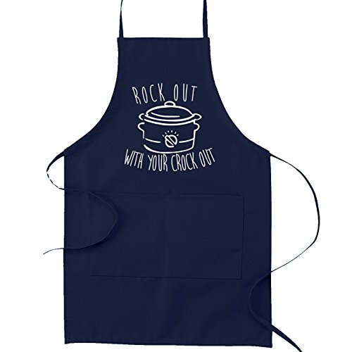 Roast Rack Oval (Rock Out With Your Crock Out Crockpot Pun Funny Parody Cooking Baking Kitchen Apron - Navy Blue)
