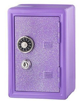 Glitter Safe Bank – Mini Locker with Glitter - Kids Storage Locker (Lavender) - Kid Mini Locker