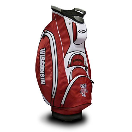 Team Golf NCAA Wisconsin Badgers Victory Golf Cart Bag, 10-way Top with Integrated Dual Handle & External Putter Well, Cooler Pocket, Padded Strap, Umbrella Holder & Removable Rain Hood