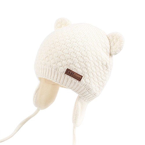 Joyingtwo Soft Warm Knit Wool Cute Bear Baby/Infant/Toddler Beanie Hat with Earflap for Winter/Autumn, White S