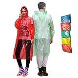 Waterproof Rain Ponchos - Set of 5 Disposable Rain Coats for Adults and Teens - Reusable Rain Ponchos - Cut Sleeve Drawstring Hood - Anti-Tear Material - Full Length Rain Poncho for Men and Women Larger Image