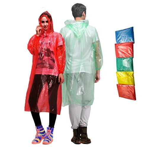 Waterproof Rain Ponchos - Set of 5 Disposable Rain Coats for Adults and Teens - Reusable Rain Ponchos - Cut Sleeve Drawstring Hood - Anti-Tear Material - Full Length Rain Poncho for Men and Women