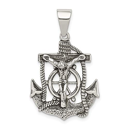 (925 Sterling Silver Mini Nautical Anchor Ship Wheel Mariners Inri Crucifix Cross Religious Pendant Charm Necklace Fine Jewelry Gifts For Women For Her)