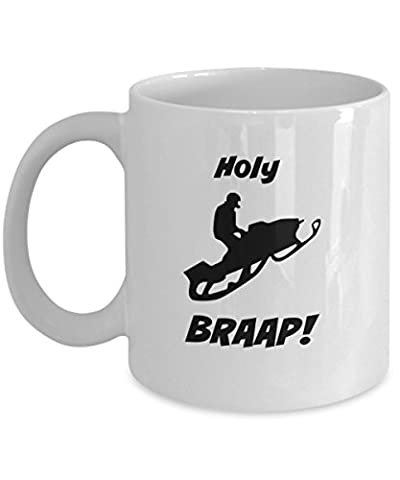Snowmobile Mug - Holy Braap! Accessories to Your Decals & Stickers (white) - Parts Unlimited Snowmobile