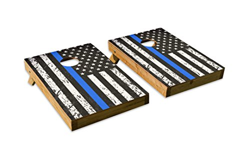 Distressed Police Blue Stripe Design Cornhole/Bean Bag Toss Board Set – Made in USA Wood  - 2'x3' Tailgate Size - Includes 8 Corn-Filled Bean Bags