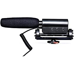 Zeadio Photography Interview Stereo Microphone with Outdoor Furry Windscreen Muff for Canon Nikon Pentax Panasonic Sony Samsung Olympus DV Digital SLR Camera Camcorder