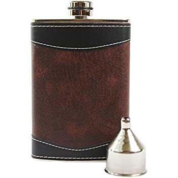 8oz Stainless Steel Primo 18/8 #304 Brown/Black PU Leather Premium/Heavy Duty Hip Flask Gift Set - Includes Funnel and Gift Box
