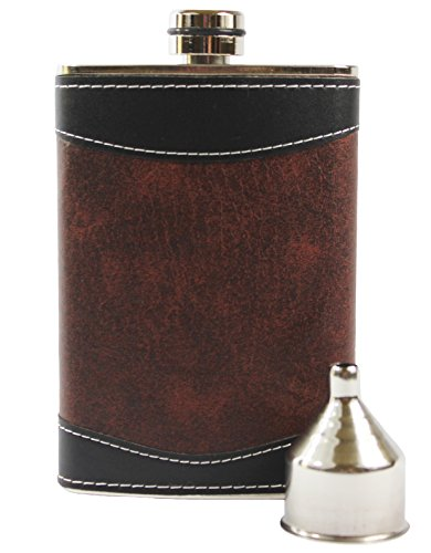 Primo Liquor Flasks 8oz Stainless Steel Primo 18/8#304 Brown/Black PU Leather Premium/Heavy Duty Hip Flask Set-Includes Funnel and Gift Box -