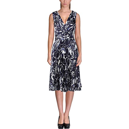Womens Printed Silk Dress (Lauren Ralph Lauren Womens Silk Printed Casual Dress Navy 8)