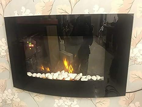 Tooltime - Estufa de pantalla para pared con efecto chimenea (tamaño grande, cristal, 2 kW), color negro: Amazon.es: Bricolaje y herramientas