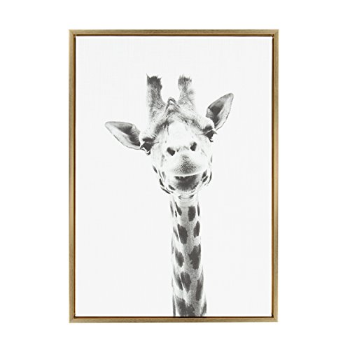 Kate and Laurel - Sylvie Giraffe Animal Print Black and White Portrait Framed Canvas Wall Art by Simon Te Tai, Gold 23 x 33 ()