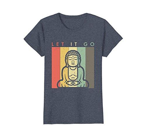 Womens Buddha Meditation TShirt - Let It Go Retro Vintage Style XL Heather Blue