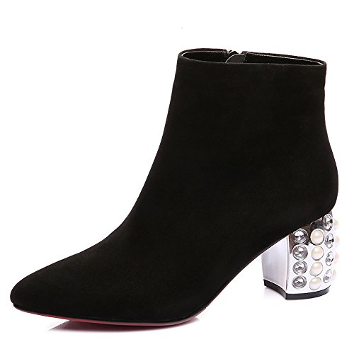 Seven Women's Pointy Toe Block Leather Handmade suede Elegant Party Suede Boot Ankle Nine leather Heel gdt4qg