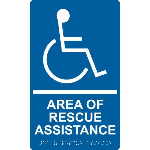 ComplianceSigns Acrylic ADA Area of Refuge / Rescue sign, 10 x 6 inch Tactile + Braille (Asylum Foam Sign)