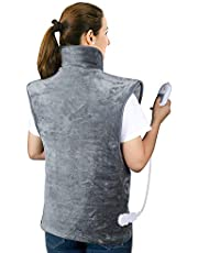 Large Heating Pad for Back and Shoulder, 24x39 inch Heat Wrap with Fast-Heating and 3 Heat Settings, Auto Shut Off, Over-Heating Protection, Machine Washable, ETL Certified - Gray