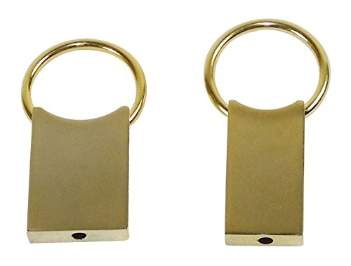 Set of 2 Key Rings - Pull & Turn, Polished Gold Tone, His & Hers Matching Pair.