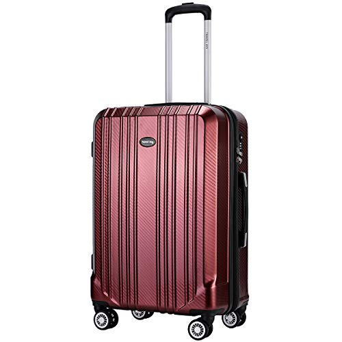 Expandable Carry on Luggage Premium Carbon Fiber Suitcase TSA Lightweight Spinner Carry On Luggage 20inches - Carry Luggage On Burgundy