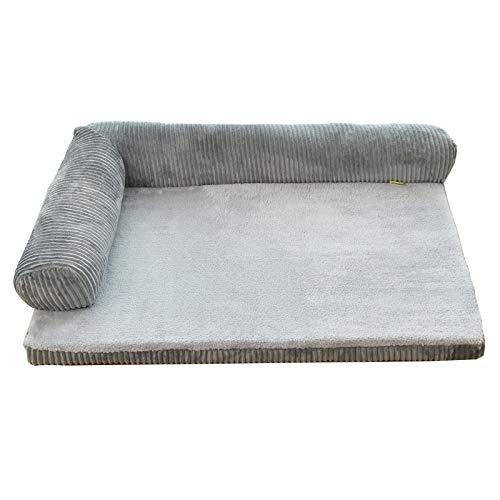 Grey M Grey M Glanzzeit Dog Bed Pet Sofa Cushion Bolster Warm Mattress for Small Medium Large Breeds (M, Grey)