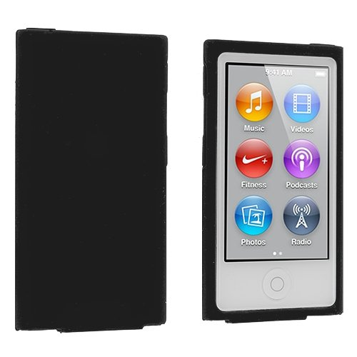 ANiceSeller(TM) Color Silicone Soft Rubber Gel Skin Case Cover for iPod Nano 7th Generation 7G 7 (Black)