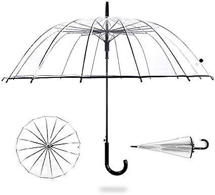 ThreeH Parapluie Canne Ouverture Automatique Resistant au Vent Transparent D/ôme Parapluie /à Bulles KS10,White
