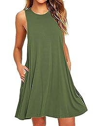 Women's Summer Casual Sleeveless Sundress Tunic Dress With Pockets
