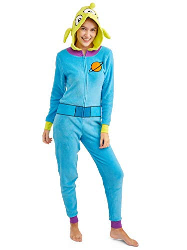(Disney Women's Faux Fur Licensed Sleepwear Adult Costume Union Suit Pajama (XS-3XL) Toy Story Alien)