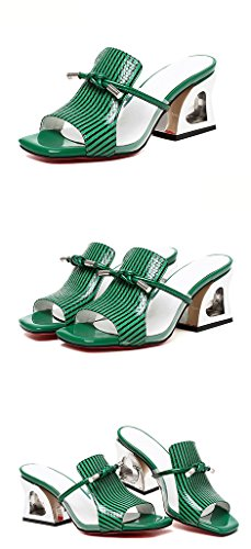 Sommer Transparent Frau High Grün ZCJB Heel Oberbekleidung Sandalen Mund Mode Fisch EwqUwap