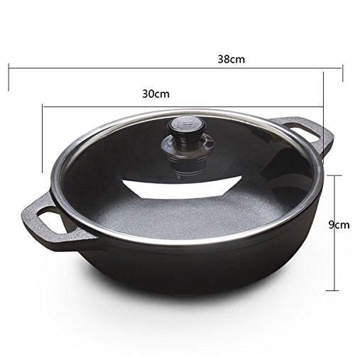 Gjhh Sopa Olla de Hierro Fundido 30cm casa Mantenga Cocina Vendimia Gruesa no recubierta Antiadherente Gas de la Olla...