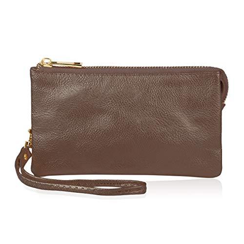 - Convertible Soft Faux Leather Wallet Purse Clutch - Small Handbag Phone/Card Slots & Detachable Wristlet Strap (Dark Gold)