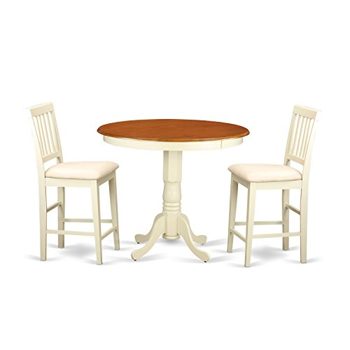 East West Furniture JAVN3-WHI-C 3 Piece Counter Height Table and 2 Chairs Set (Rectangle Height Counter Table)