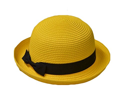 King Ma Bowknot Straw Summer Bowler Hat Sun Cap Hat for Ladies Womens