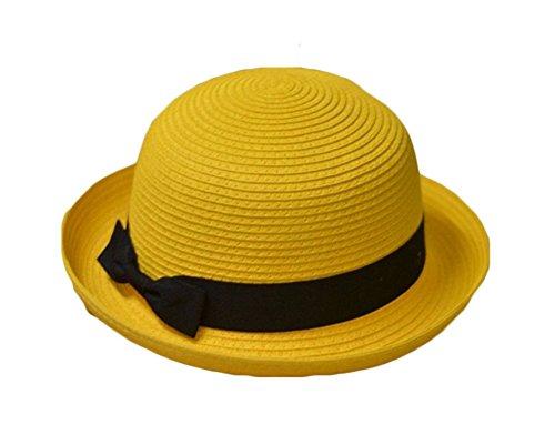King Ma Bowknot Straw Summer Bowler Hat
