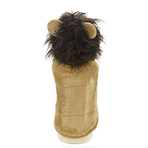 FLAdorepet Dog Lion Mane Wigs Costume for Halloween Party Winter Warm Fleece Dog Coat Clothes (XS, Brown)]()