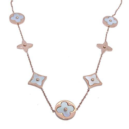 Baoliren White Shell Rose Gold Tone Round Multi Clover Women's Strand Necklace