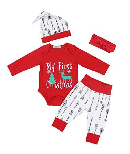 4pcs Baby Boy Girl Christmas Outfit Romper Pants Leggings Hat Clothes Set - 6