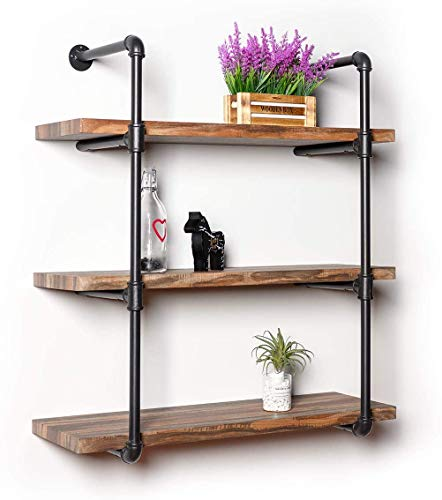 IRONCK Industrial Shelving Pipe Shelf 3-Tier, Planks Included, Rustic Home Decor Wall Decor, Wall Shelves for Bedroom… 1