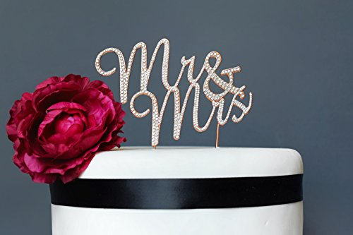 Ideas Decorating Wedding (Mr and Mrs ROSE GOLD Cake Topper | Premium Sparkly Crystal Rhinestones | Wedding Anniversary Bridal Shower Bachelorette Party or Vow Renewal Decoration Ideas | Perfect Keepsake (Mr and Mrs Rose Gold))