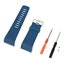 XBERSTAR Replacement Small&Large TPU Watch Band Wrist Strap for Fitbit Surge Activity Smart Watch Fitness Tracker Bracelet Accessories (Blue, Large)