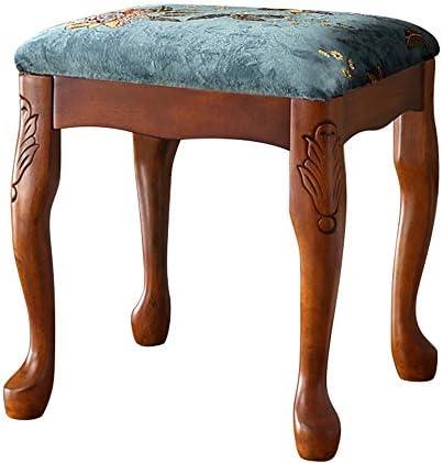 ピアノ椅子 アメリカのソリッドウッド構造ピアノスツールピアノキーボードスツール古筝ドラムスツールは、表マニキュアチェアドレッシング 厚いクッション付きピアノチェア (色 : Blue, Size : 38x38x42cm)