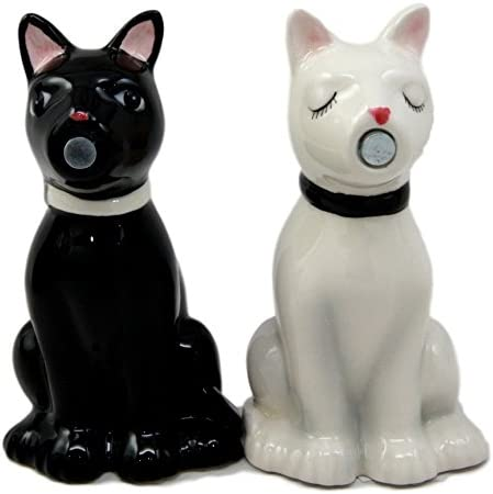 Ebros Wedding Cats Feline Black And White Cats In Tuxedo And Bridal Gown Salt And Pepper Shakers Ceramic Magnetic Figurine Set 3.75H Ebros Gift