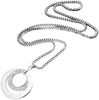 [해외]Personalized Diamond Zircon Pendant Engraved Necklace - Personalized 2 Circles Disc Punk Strly Long Necklace Jewelry Gift / Personalized Diamond Zircon Pendant Engraved Necklace - Personalized 2 Circles Disc Punk Strly Long Necklac...