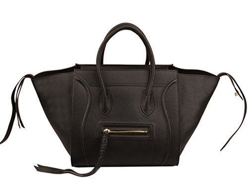 Purse Double Bag Handbag Tote - Ainifeel Women's Genuine Leather Bat Oversize Tote Bag Purse Handbags (X-large (Oversize), Black AA)