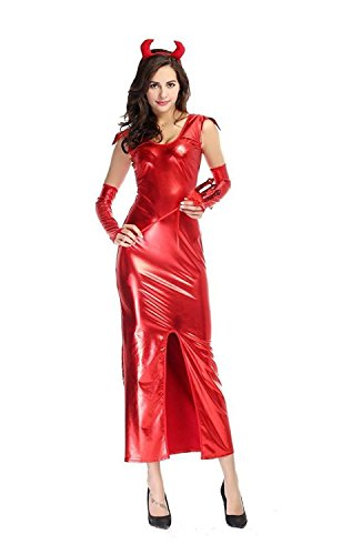 Red Leather Costume Devil (PINSE Woman Sexy Leather Red Devil Costume)