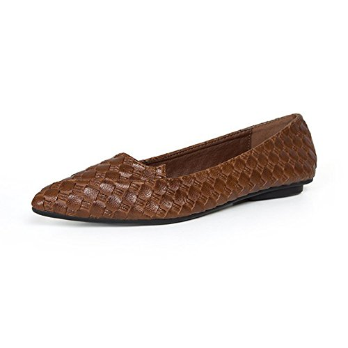 Walking Bottom Pointed Slip Comfortable Flats Shoes Brown Loafers Toe Weaving On Soft Ballet Women's qaXPTX