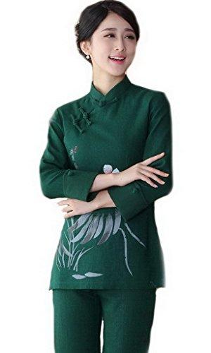 贈り物場合すべき(ビグッド)Bigood チャイナ服 レディース トップス ブラウス 長袖 チーパオ 上着 女性用 ブラウス エレガント Tシャツ カットソー民族風 蓮の花 ダークグリーン 4XL