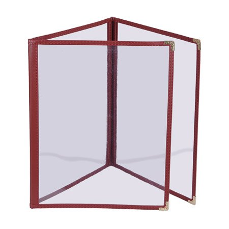 Clear Restaurant Menu Cover Folder Triple 8-1/2''x14'' 30pcs Burgundy by Generic Brand