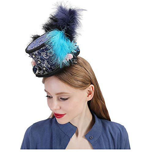 ZUAN Mad Hatter Hat, Paisley Tea Party Hat, Horse Race Hat, Turquoise Majestic Ascot, Miniskirt Top Hat (Color : Draw Blue, Size : 25-30cm)]()