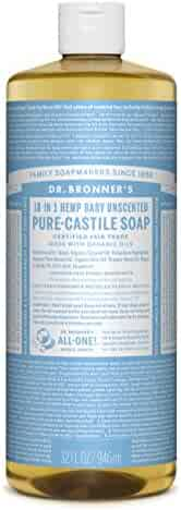 Dr. Bronner's Magic Soaps Pure-Castile Soap, 18-in-1 Hemp Unscented Baby Mild, 32-Ounce Bottle