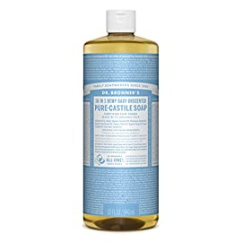 Dr. Bronner's Pure-Castile Liquid Soap Value Pack - Baby Unscented 32oz. (2 Pack) 78 BABY UNSCENTED VALUE 2 PACK. With no added fragrance and double the olive oil, our Baby Unscented Pure-Castile Liquid Soap is good for sensitive skin - babies too (though not tear-free!) SMOOTH AND MOISTURIZING. Dr. Bronner's Liquid Pure-Castile Soap offers organic and vegan ingredients for a rich, emollient lather and a moisturizing after feel. It uses organic hemp, olive, and coconut oil to nourish your clean, healthy skin. NATURAL. Smooth and luxurious soap with no synthetic detergents or preservatives, as none of the ingredients or organisms are genetically modified. Use on your hands, face, or hair, or dilute your soap for a multi-use cleaning product.